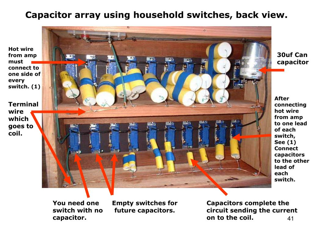 Capacitor array using household switches, back view.