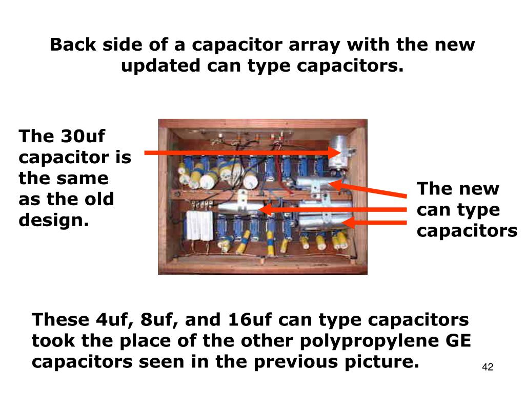 Back side of a capacitor array with the new updated can type capacitors.