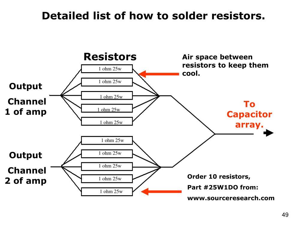 Detailed list of how to solder resistors.