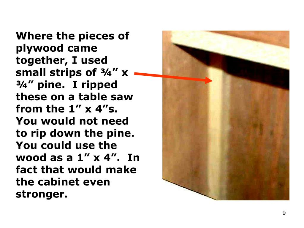 """Where the pieces of plywood came together, I used small strips of ¾"""" x ¾"""" pine.  I ripped these on a table saw from the 1"""" x 4""""s.  You would not need to rip down the pine.  You could use the wood as a 1"""" x 4"""".  In fact that would make the cabinet even stronger."""