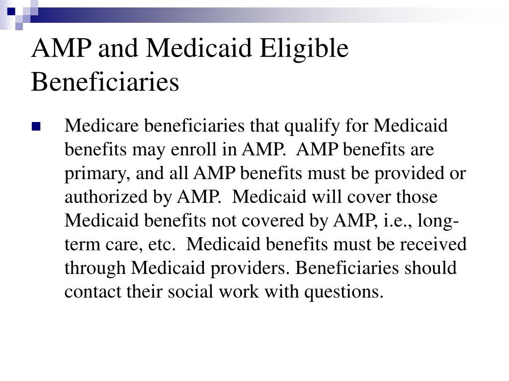 AMP and Medicaid Eligible Beneficiaries