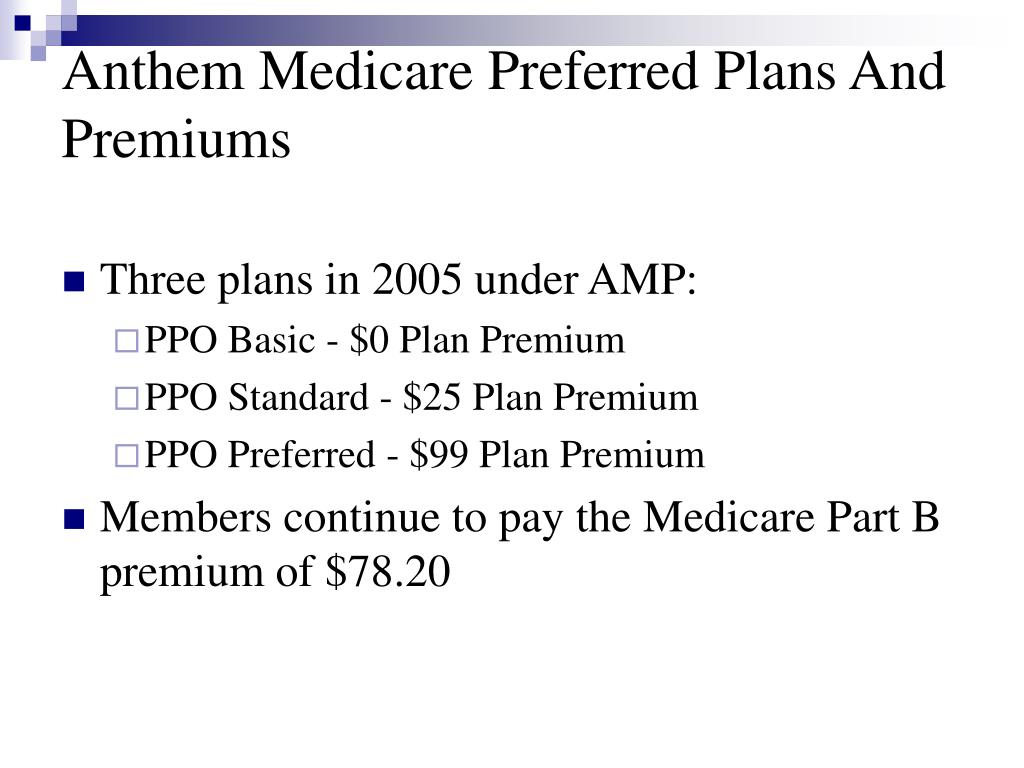 Anthem Medicare Preferred Plans And Premiums