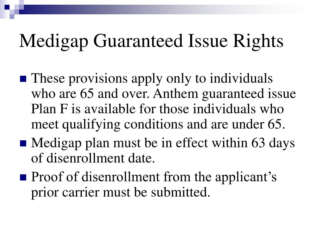Medigap Guaranteed Issue Rights