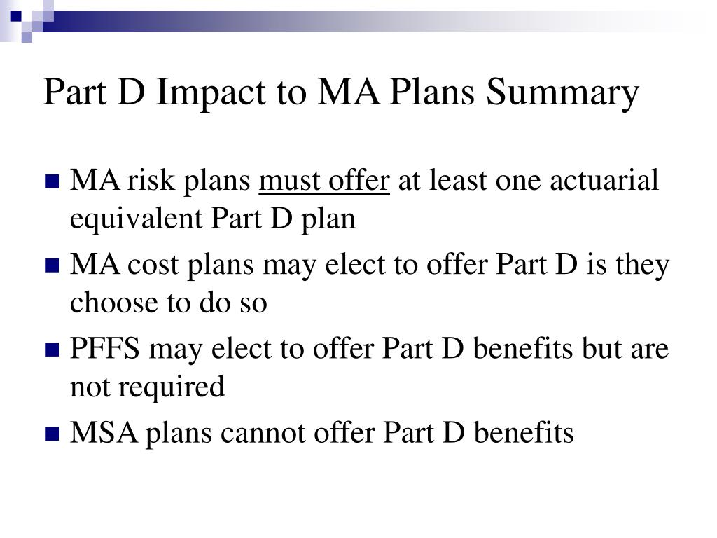 Part D Impact to MA Plans Summary