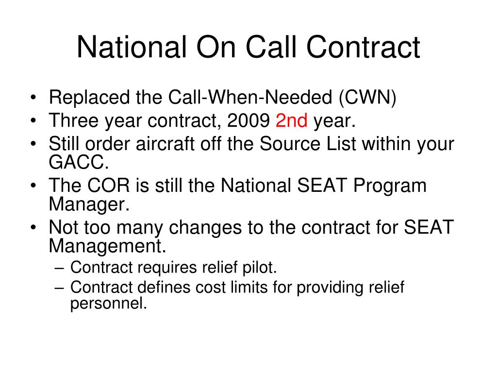 National On Call Contract