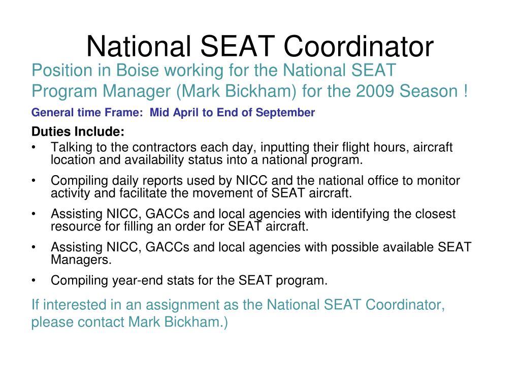 National SEAT Coordinator