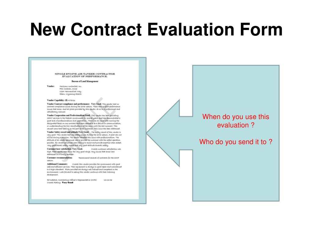 New Contract Evaluation Form