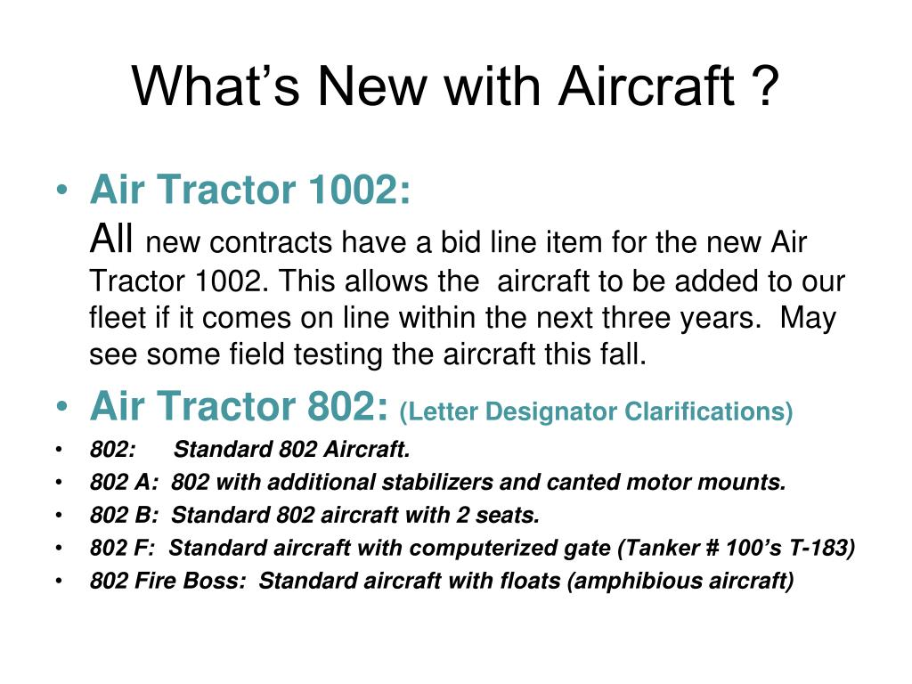 What's New with Aircraft ?