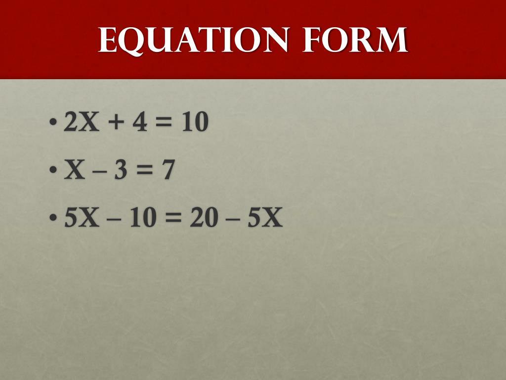 Equation Form