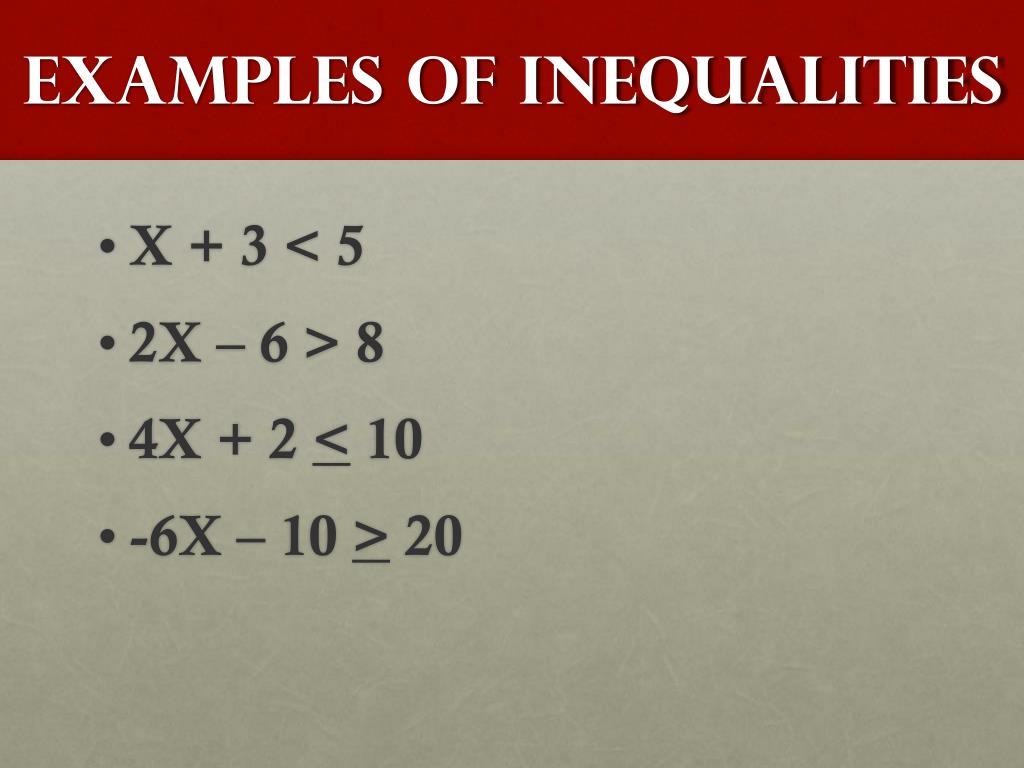 Examples of Inequalities
