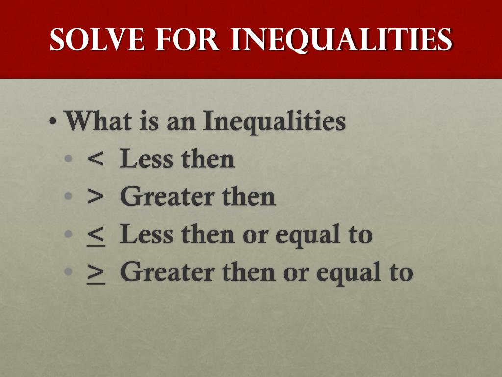 Solve for Inequalities