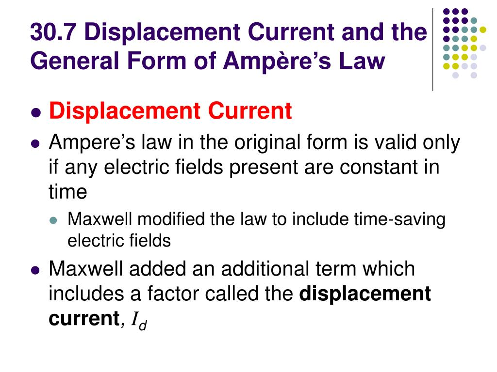 30.7 Displacement Current and the General Form of Amp