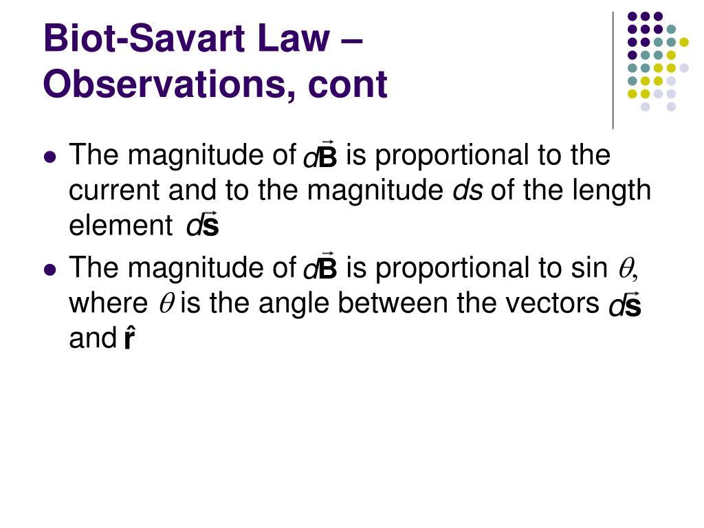 Biot-Savart Law – Observations, cont