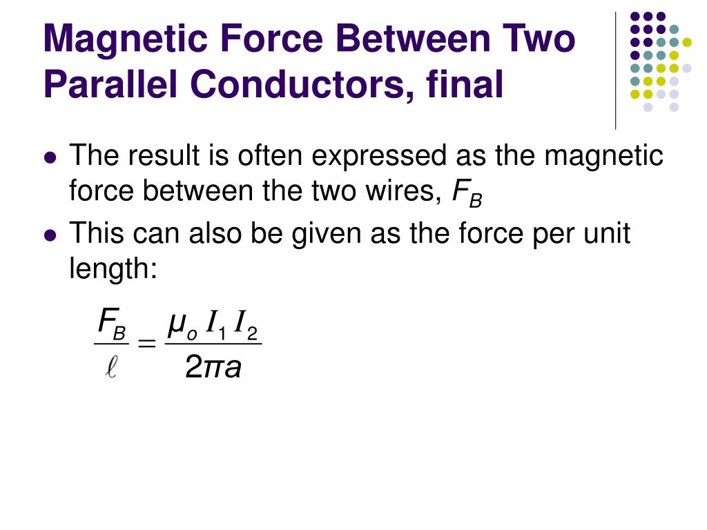 Magnetic Force Between Two Parallel Conductors, final