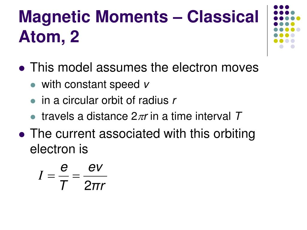 Magnetic Moments – Classical Atom, 2