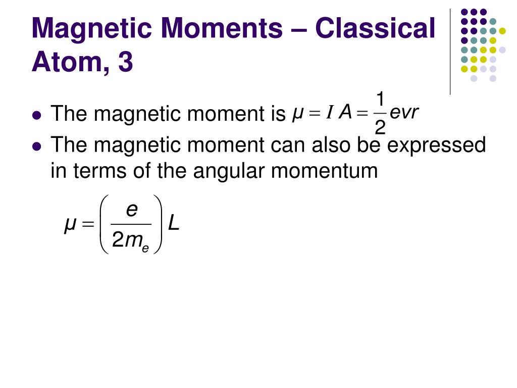 Magnetic Moments – Classical Atom, 3