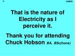 that is the nature of electricity as i perceive it