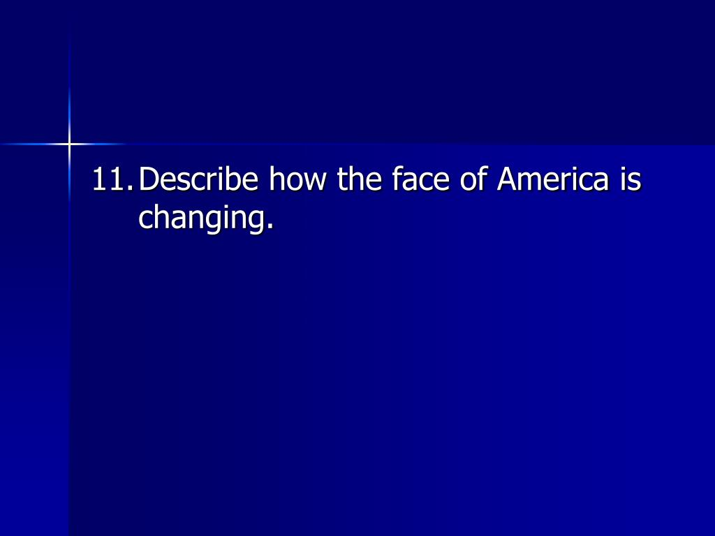 11.	Describe how the face of America is changing.