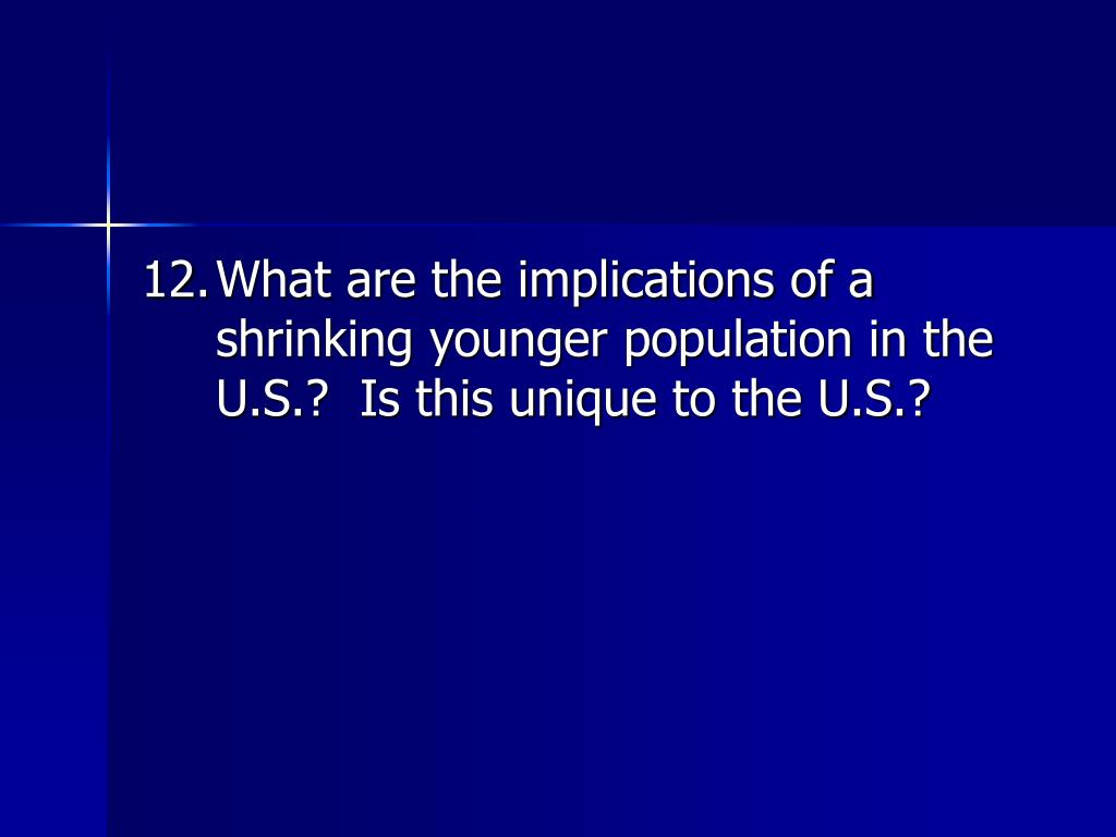 12.	What are the implications of a shrinking younger population in the U.S.?  Is this unique to the U.S.?