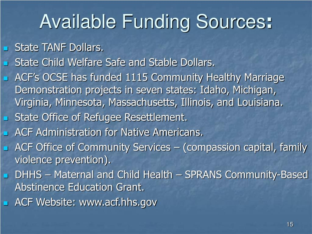 Available Funding Sources