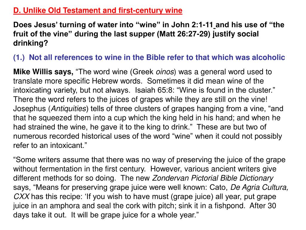 D. Unlike Old Testament and first-century wine