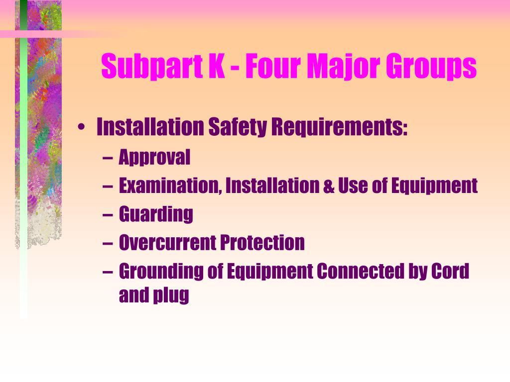 Subpart K - Four Major Groups