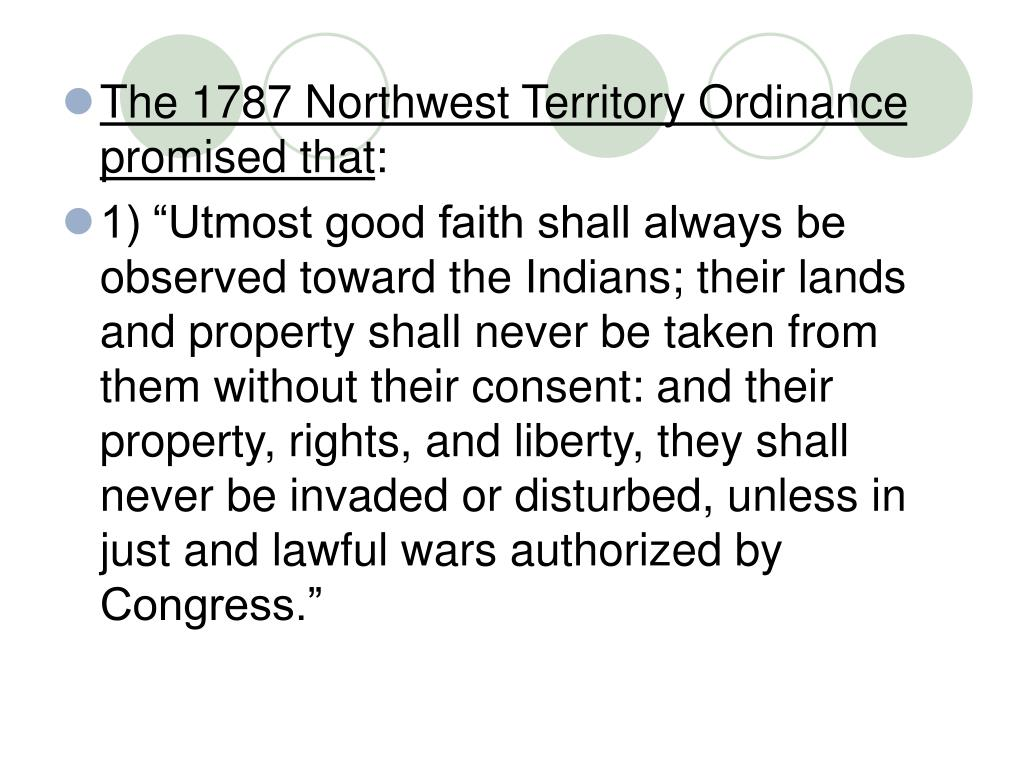 The 1787 Northwest Territory Ordinance promised that