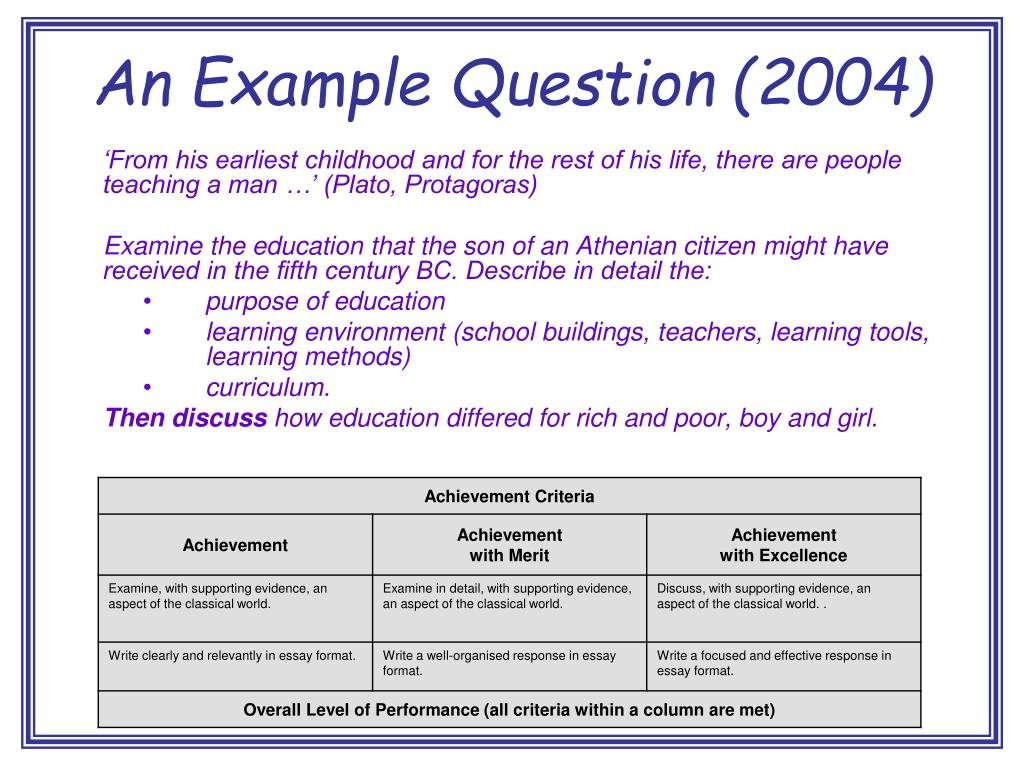 An Example Question (2004)