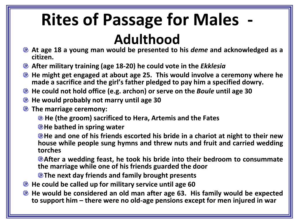Rites of Passage for Males  -