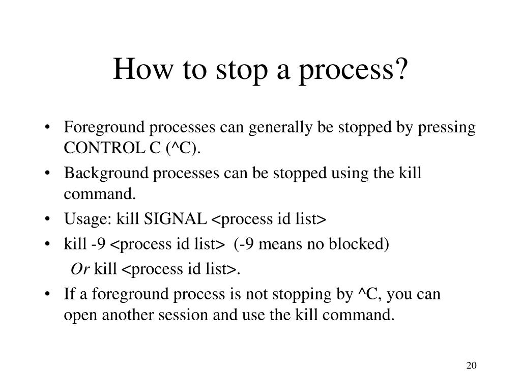 How to stop a process?