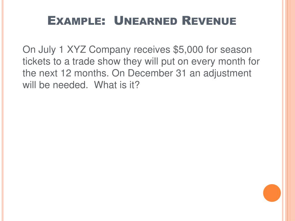 Example:  Unearned Revenue