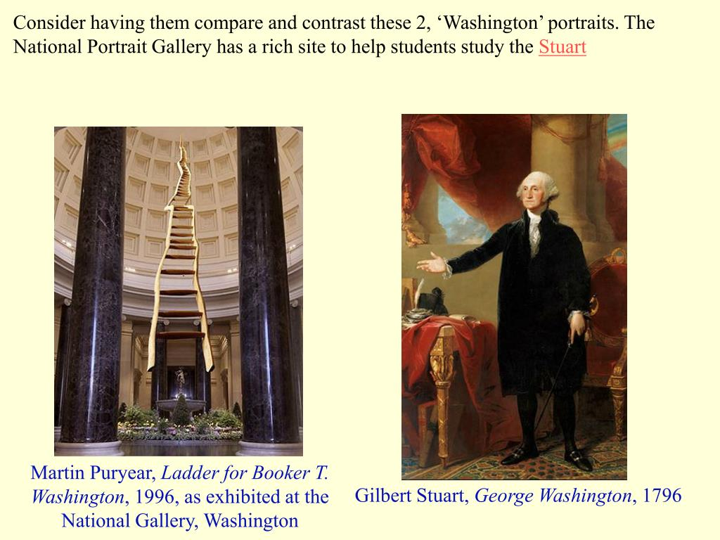 Consider having them compare and contrast these 2, 'Washington' portraits. The National Portrait Gallery has a rich site to help students study the