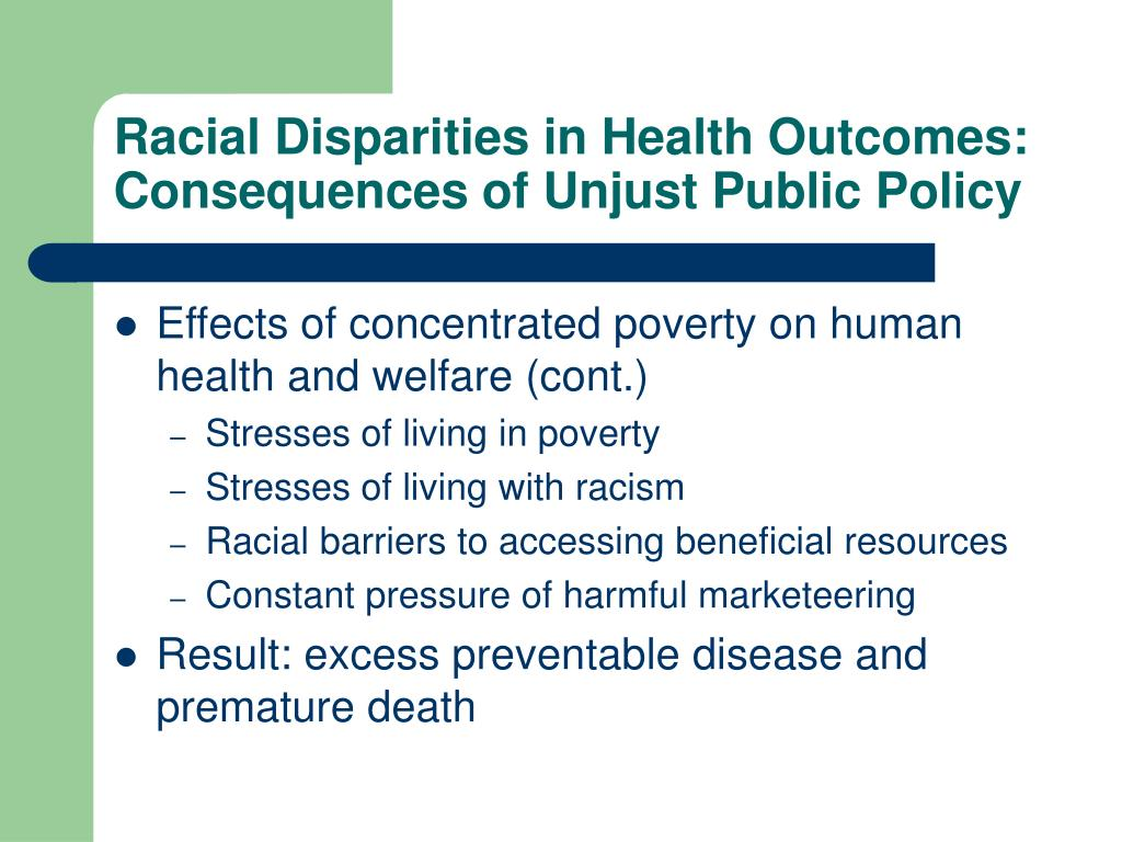 Racial Disparities in Health Outcomes:
