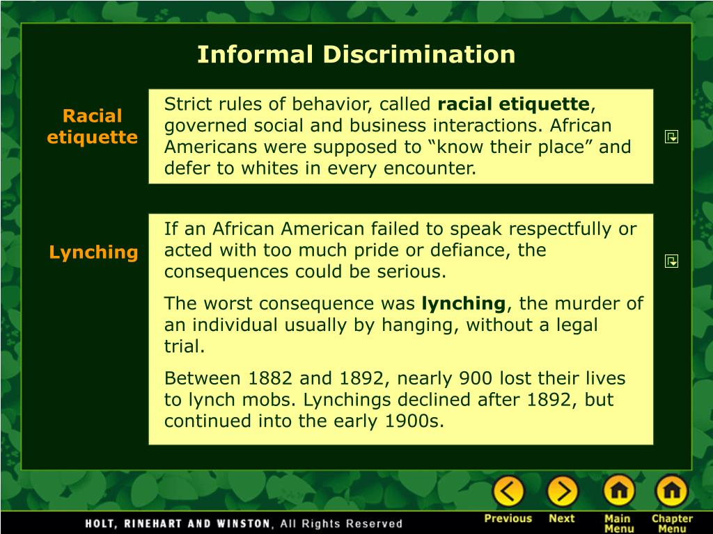 Informal Discrimination