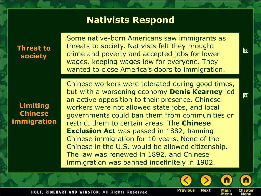 Nativists Respond