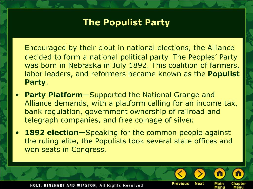 Encouraged by their clout in national elections, the Alliance decided to form a national political party. The Peoples' Party was born in Nebraska in July 1892. This coalition of farmers, labor leaders, and reformers became known as the