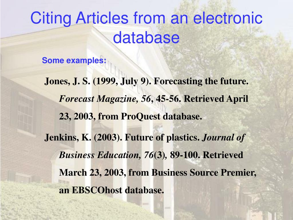Citing Articles from an electronic database