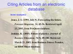 citing articles from an electronic database24