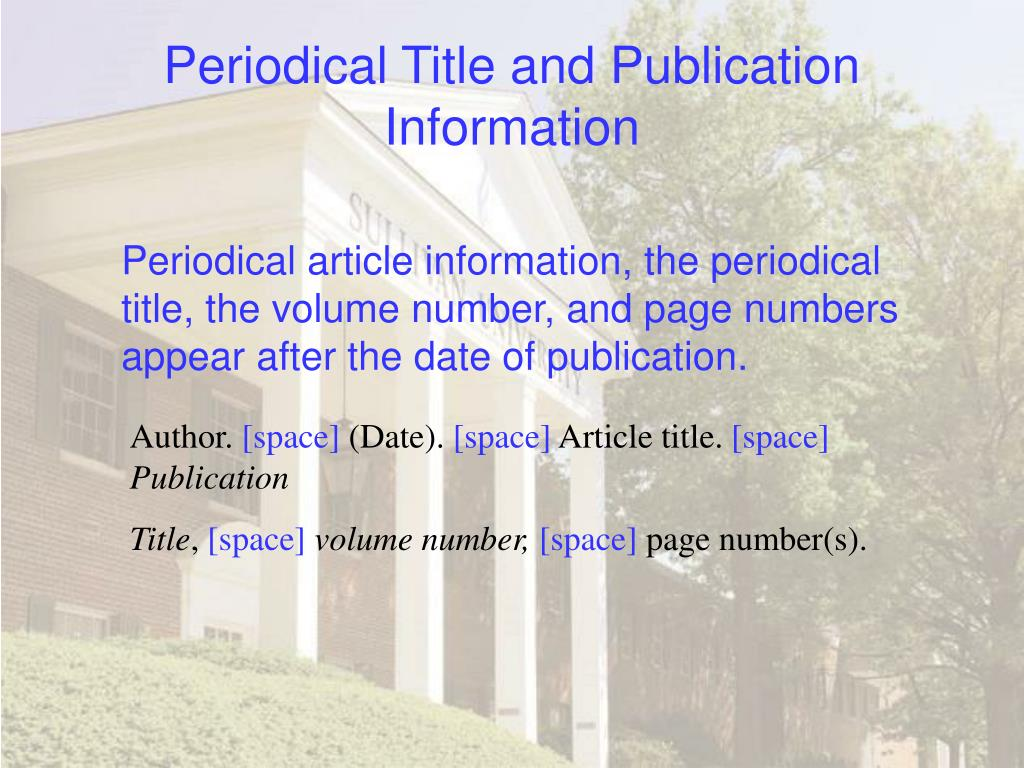 Periodical Title and Publication Information