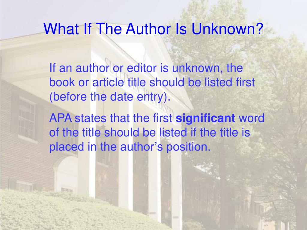 What If The Author Is Unknown?