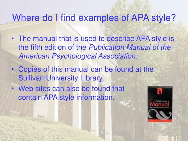 Where do i find examples of apa style