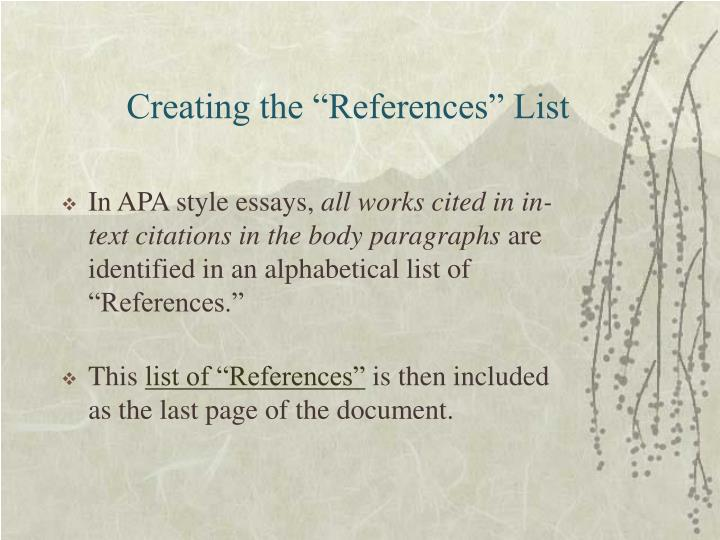"Creating the ""References"" List"