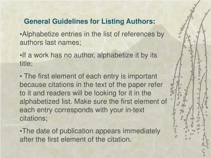 General Guidelines for Listing Authors: