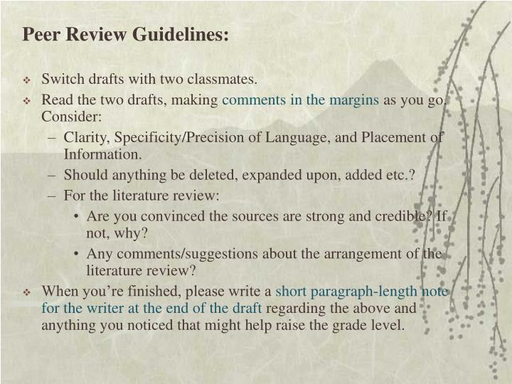 Peer Review Guidelines: