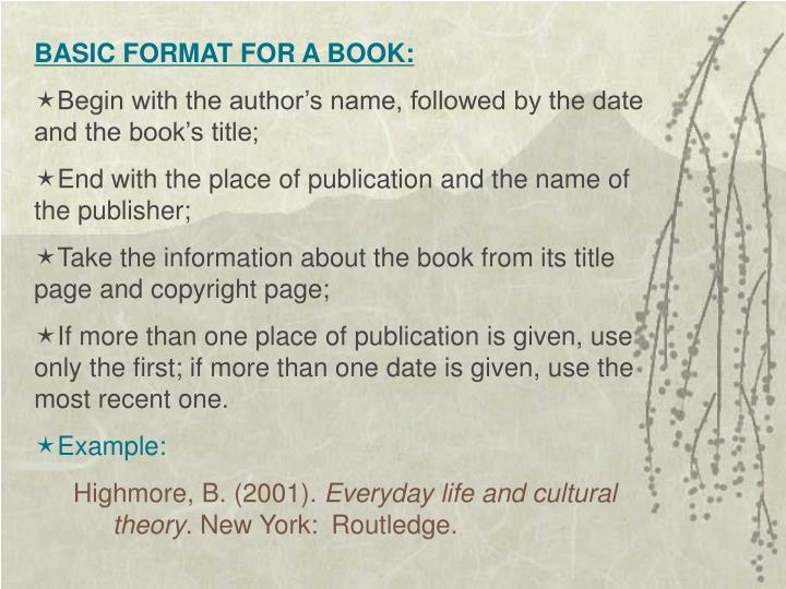 BASIC FORMAT FOR A BOOK: