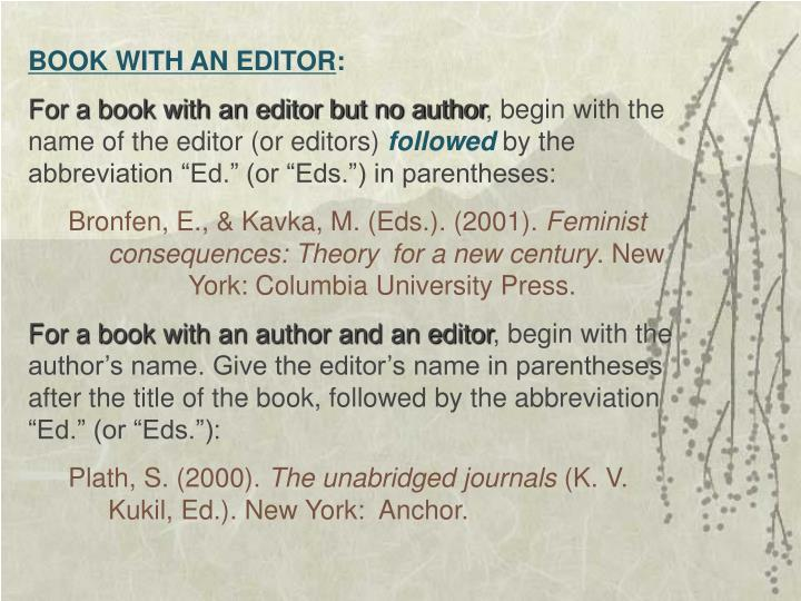 BOOK WITH AN EDITOR