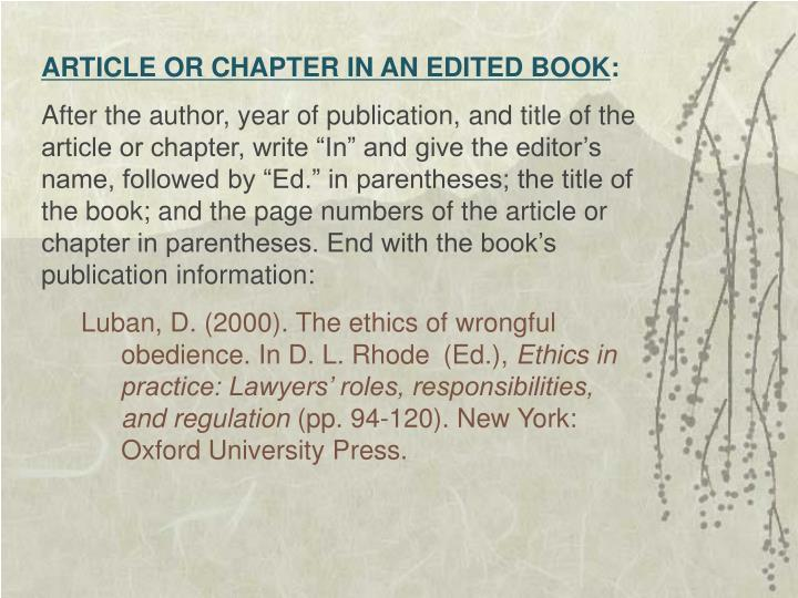 ARTICLE OR CHAPTER IN AN EDITED BOOK