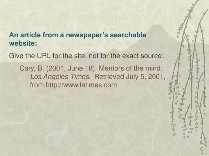 An article from a newspaper's searchable website: