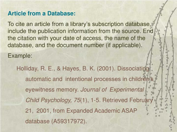 Article from a Database: