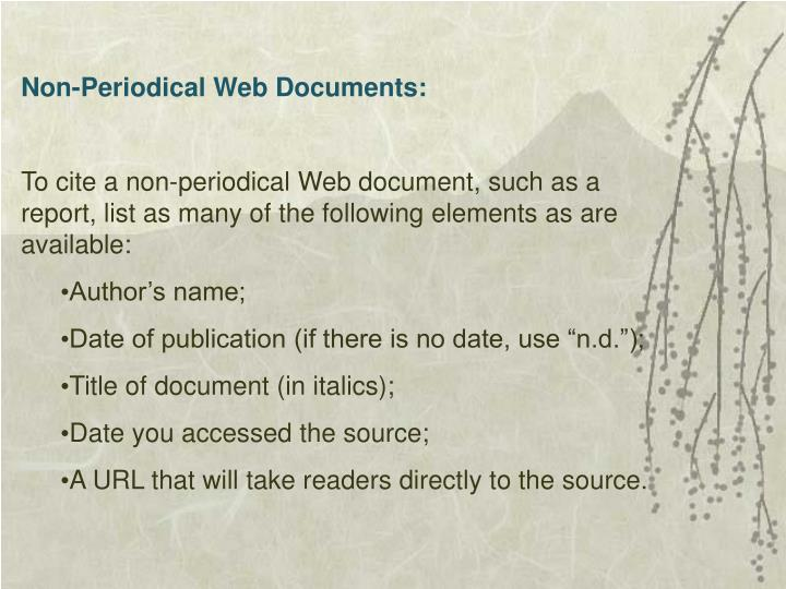 Non-Periodical Web Documents: